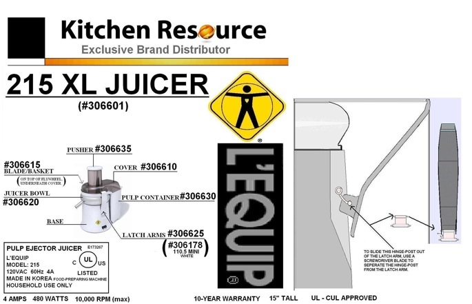 Lequip Juicer Parts